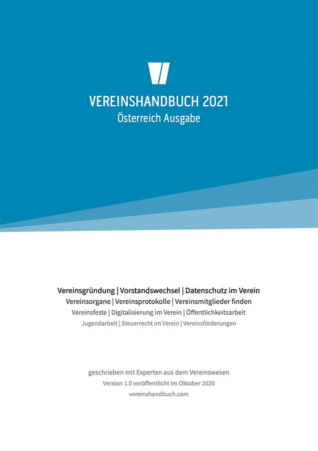 Titelblatt Vereinshandbuch – Gründung, Datenschutz, Sponsorensuche, Förderungen, Steuern und Öffentlichkeitsarbeit