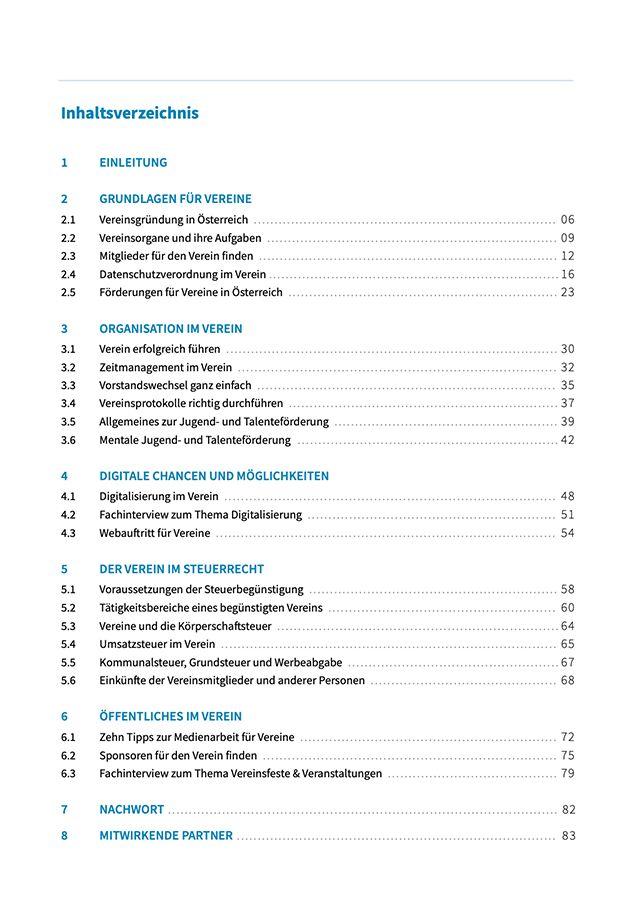 Inhaltsverzeichnis Vereinshandbuch – Gründung, Datenschutz, Sponsorensuche, Förderungen, Steuern und Öffentlichkeitsarbeit